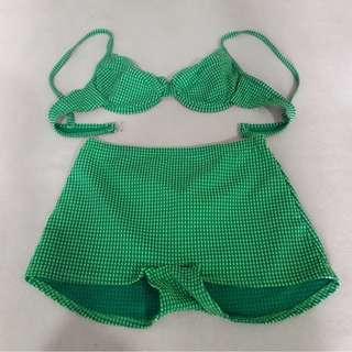 Swimwear set green bikini with Boxer short