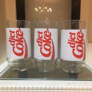 Diet Coke 可口可樂玻璃杯3隻coca cola