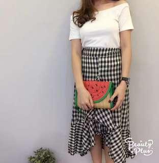 [New]Sweet ruffles with plaid slit skirt