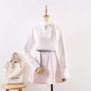 韓版雪紡長袖領口綁帶襯衫