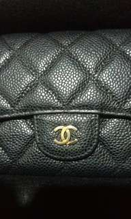 Chanel 黑色荔枝皮 長銀包
