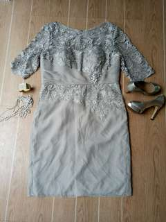 For sale Gray Gown w/lace