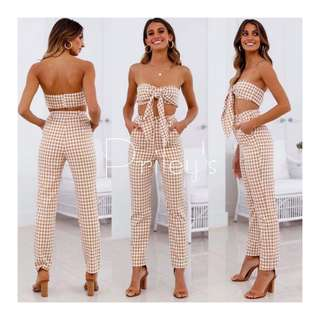 FRONT TIE TOP AND PANTS SET