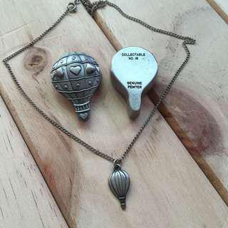 早期收藏-微型錫制熱氣球飾品盒套組 含飾品盒、耳環、墜子項鍊M684