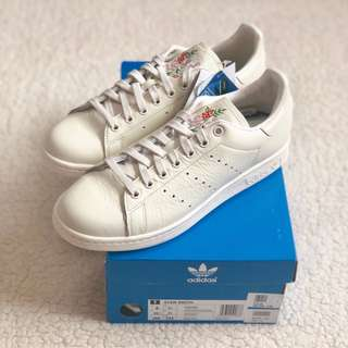 Adidas Stan Smith Embroidered Leather Sneakers