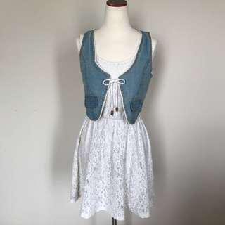 Jeans Crop Vest (dress is not included)
