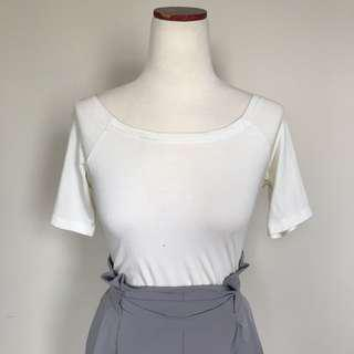 White Wide Boat Neck top