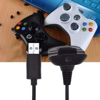 XBOX 360 Black Wireless Controller USB Charging Cable Cord 1.5m