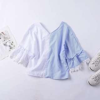 百搭藍條紋寬袖雕花蕾絲排釦V領上衣