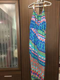 🚚 編織細肩幾何長洋裝 夏日度假長洋裝 南洋風 近全新#女裝半價拉