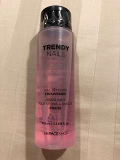 BN sealed TheFaceShop Trendy gentle nail remover with Strawberry fragrance 100ml
