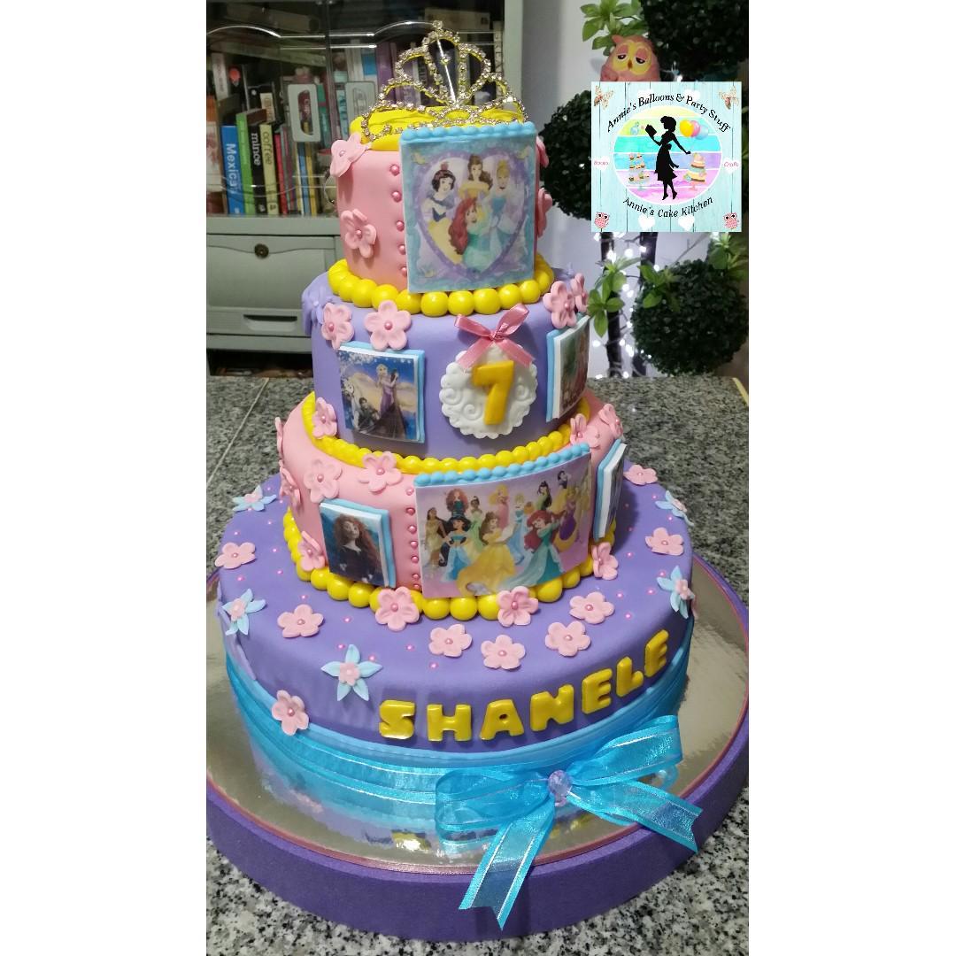 image regarding Edible Printable Paper for Cakes identified as 4-Layer Disney Princess Cake with Tiara Topper and Edible