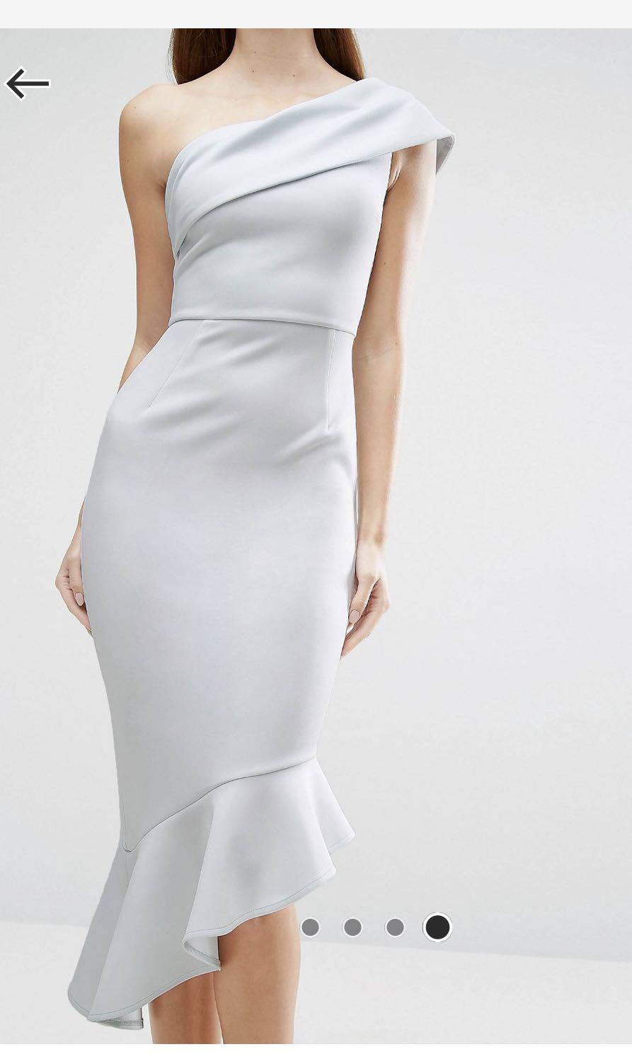 3d09c1ba53b2 ASOS Scuba One Shoulder Peplum Midi Dress
