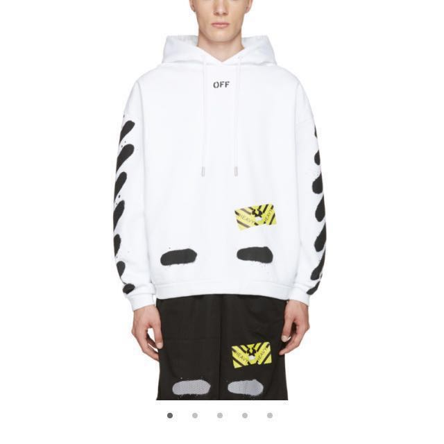 fcc3b8ce1066 AUTH Off-White Diagonal Spray Hoodie S