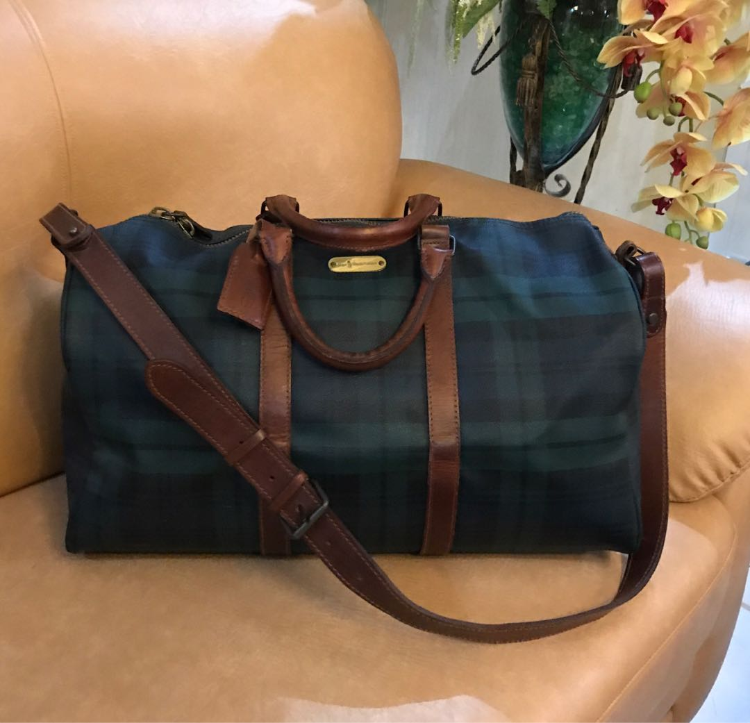 74e1c694277 Authentic Ralph Lauren Blackwatch Green Vintage Plaid Leather Duffle ...
