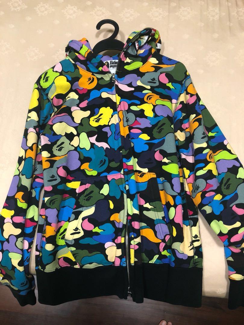 c9b7ee549b27 Bape rainbow camo shark jacket