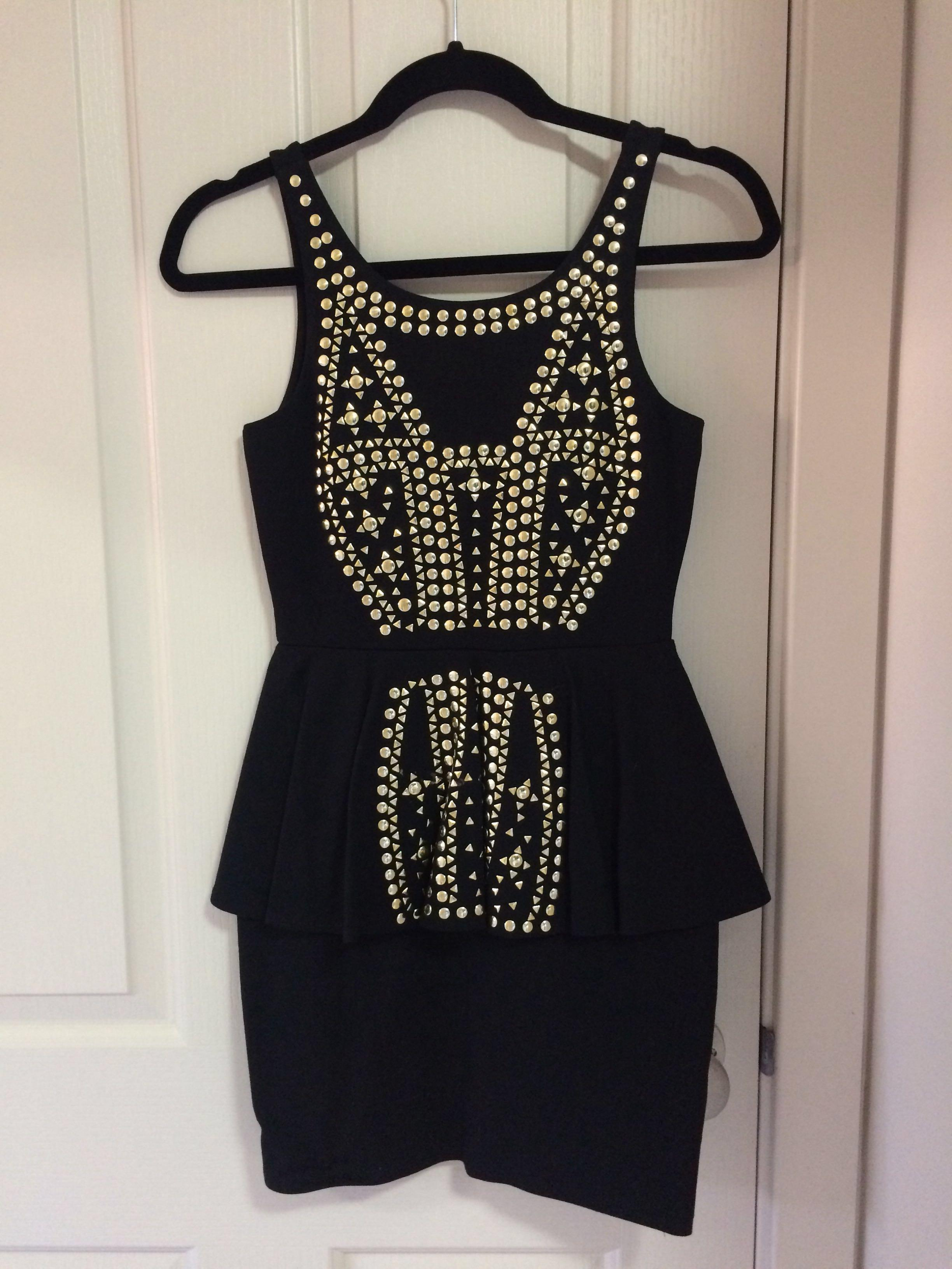 Black & Gold detail bodycon dress