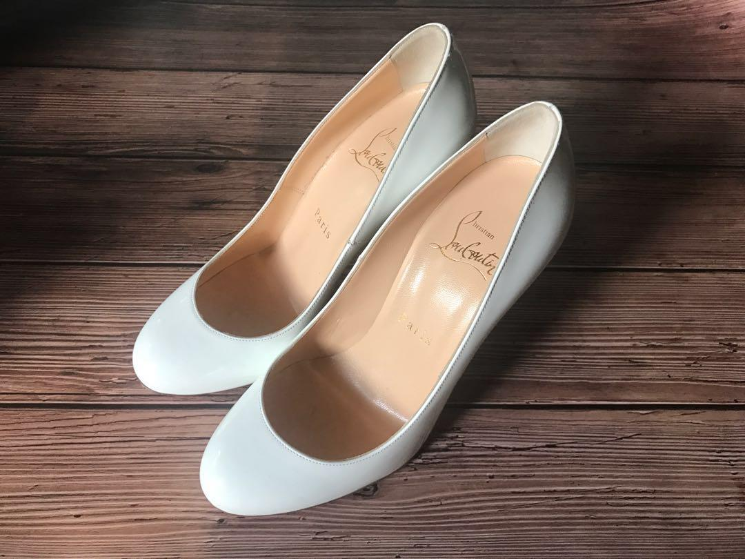 best website 292e5 b17a2 BN Christian Louboutin Fifille 100 White Leather Heels size ...