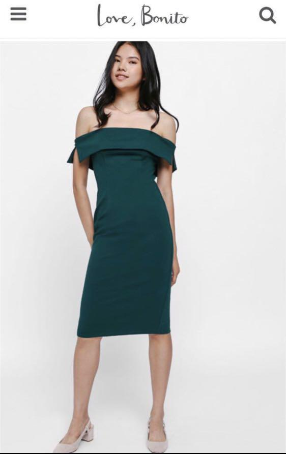 BNWT Love Bonito Off Shoulder Dress in Forest Green