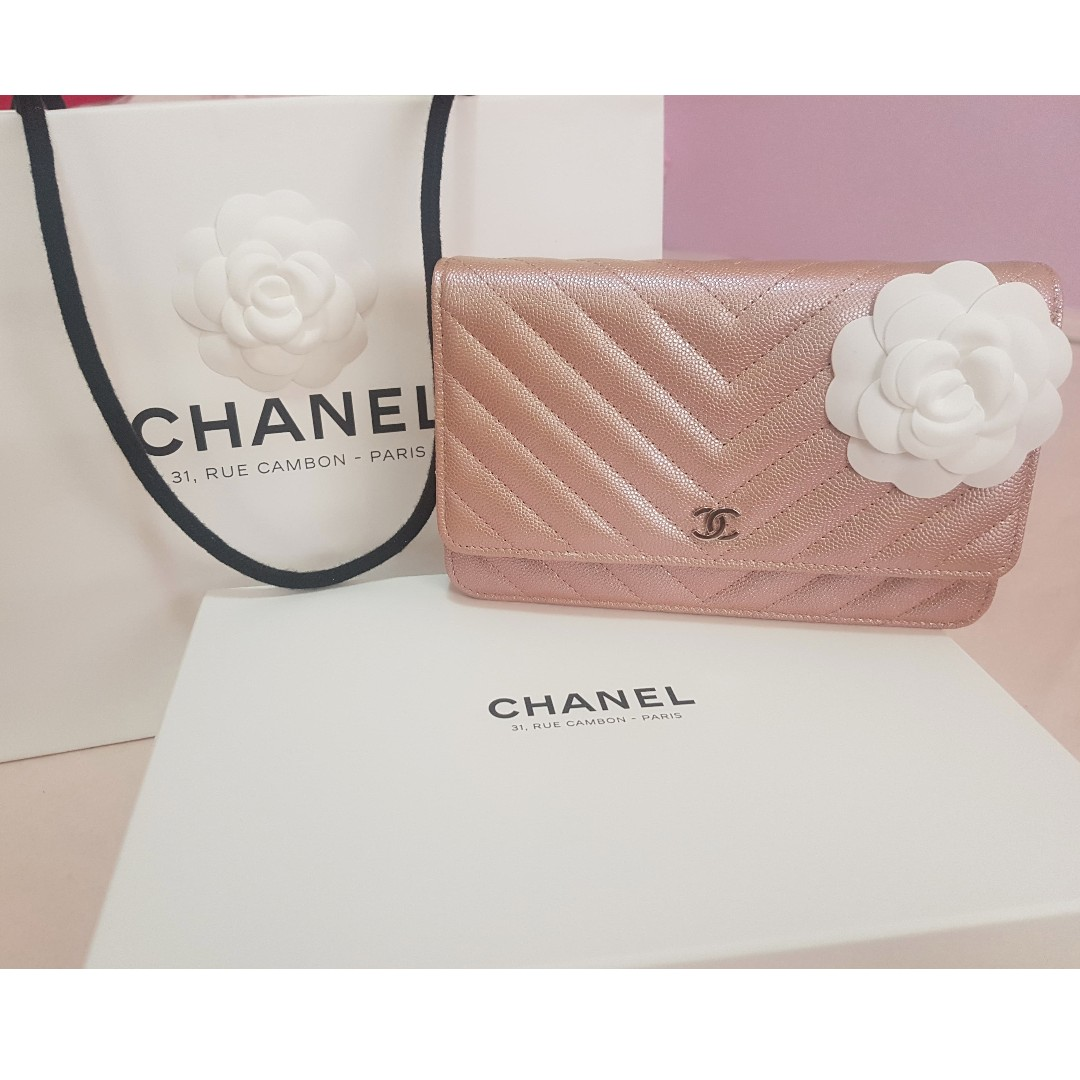8afaa081ef2c Chanel WOC Iridescent Rose Gold, Luxury, Bags & Wallets on Carousell
