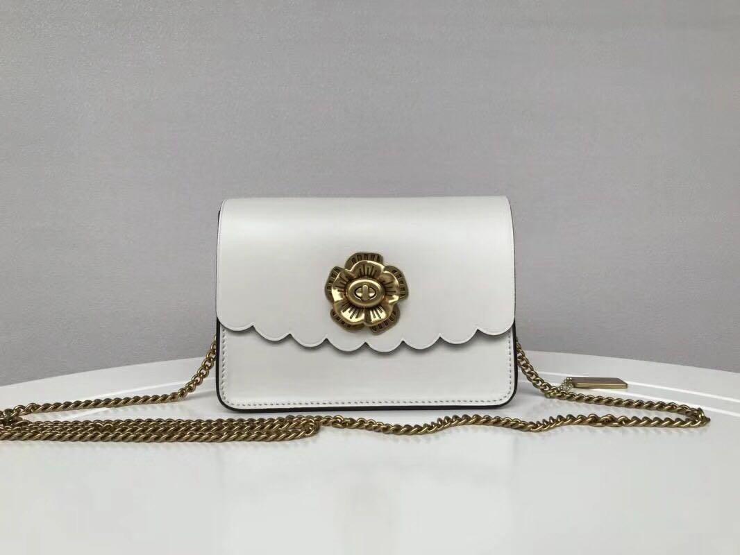 468c9cbb0bb78 Coach Bowery Crossbody Bag with Tea Rose Turnlock - white