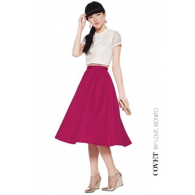 000eb285cf Covet by Love Bonito Taylor Midi Skirt in Fuchsia, Women's Fashion ...