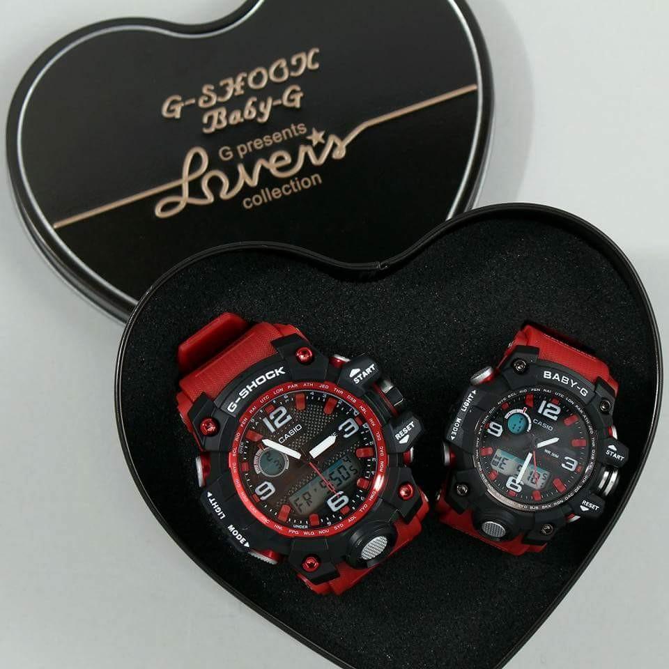 G Shock Couple Set Gift Red Black Design New