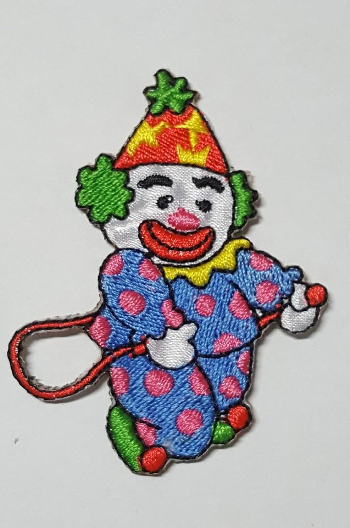 """Embroidered Iron On Applique Patch -3.5/""""H Circus Clown Party Clown Face"""