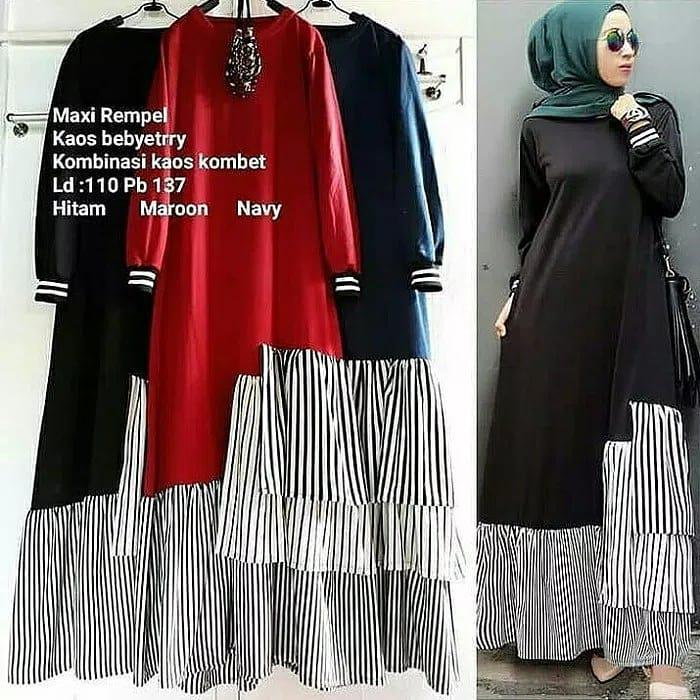 MF - 0118 - Dress Busana Muslim Maxi Rempel