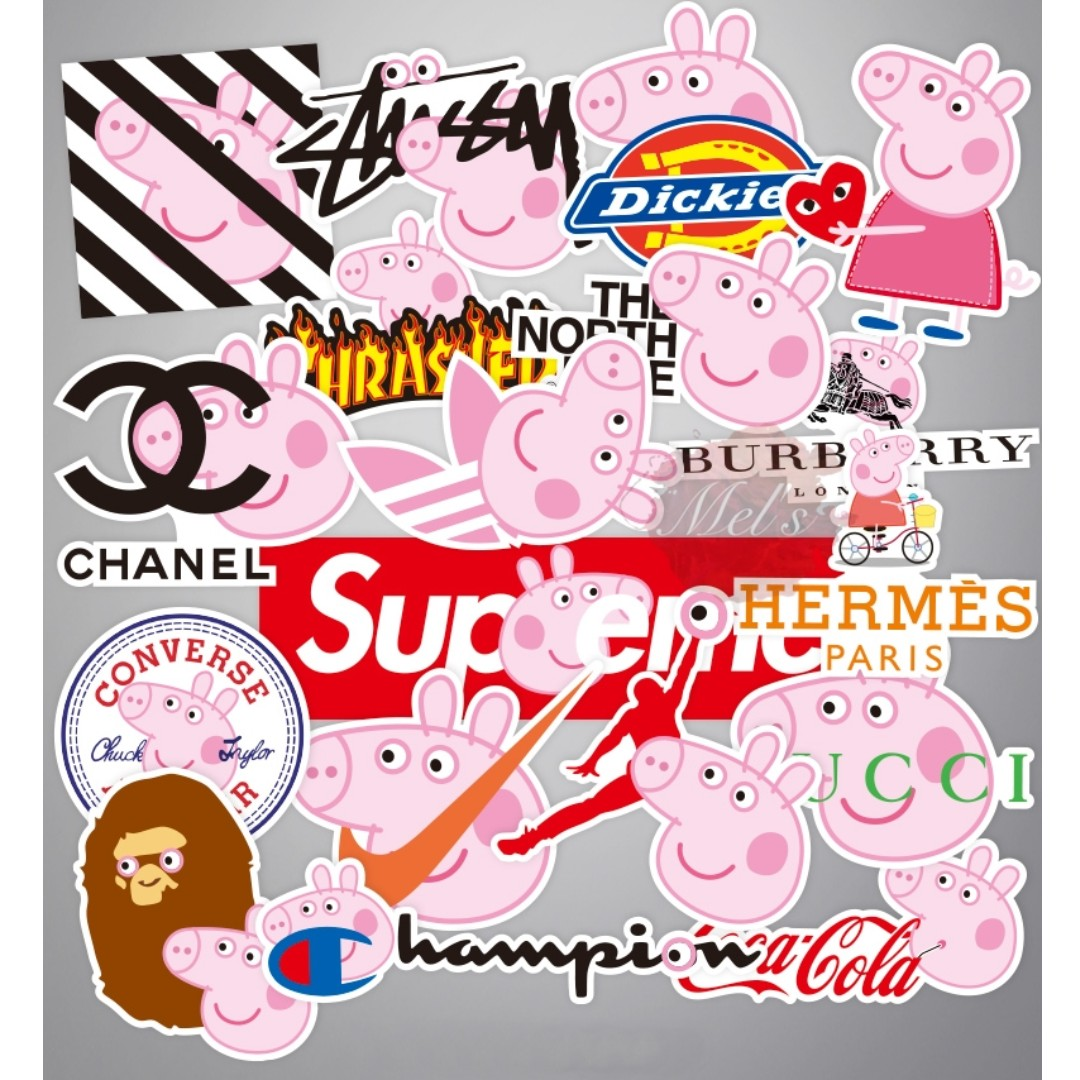 Peppa Pig X Popular Clothing Brands Supreme Burberry Ow Off White Thrasher Cdg Play Comme Des Garçons Gucci Coca Cola Champion Stussy Stüssy