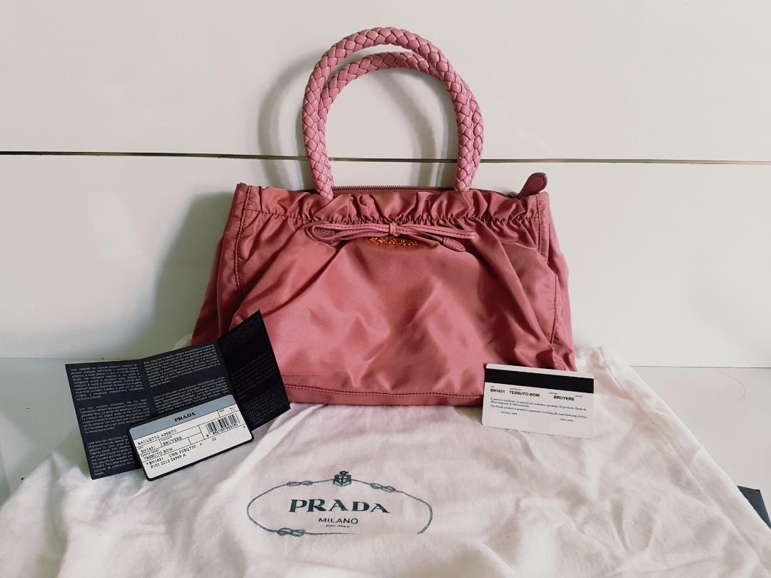 f9c76cc494 Prada Bag Nylon Handbag 2 way BN1631 Tessuto Bow Tote With Strap ...