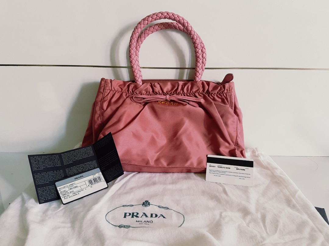 24d4cfca24dd Prada Bag Nylon Handbag 2 way BN1631 Tessuto Bow Tote With Strap ...