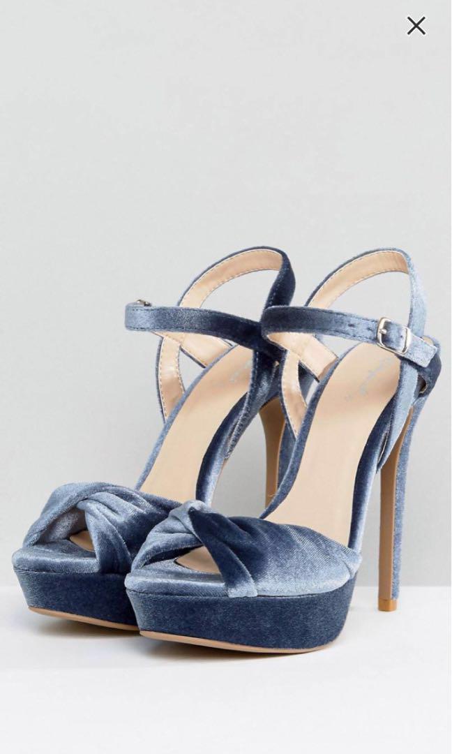 Qupid Velvet Platform Heels, Women's