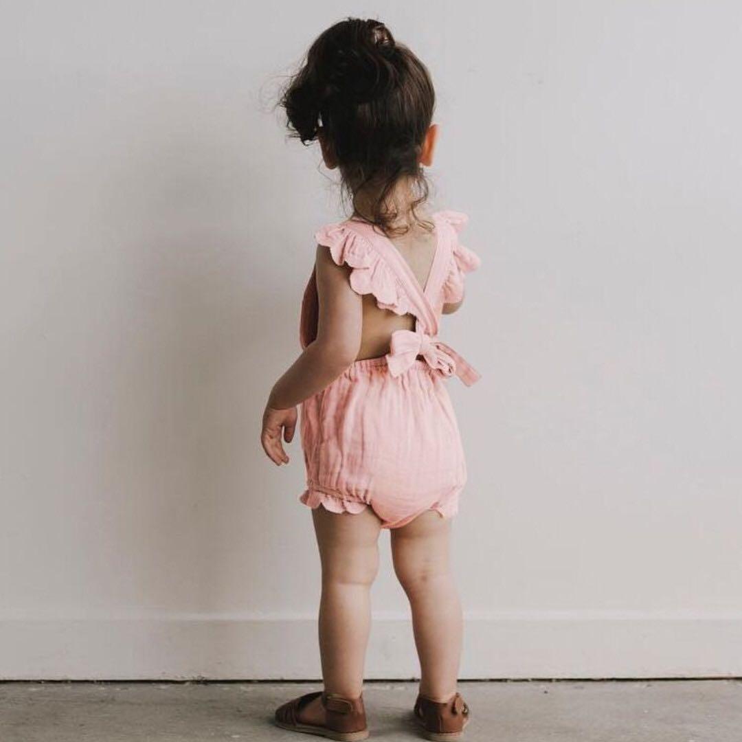46e8511e055 ✓️STOCK - PINK SEXY X BACK RUFFLED ONESIE NEWBORN BABY TODDLER GIRL CASUAL  ROMPER KIDS CHILDREN CLOTHING