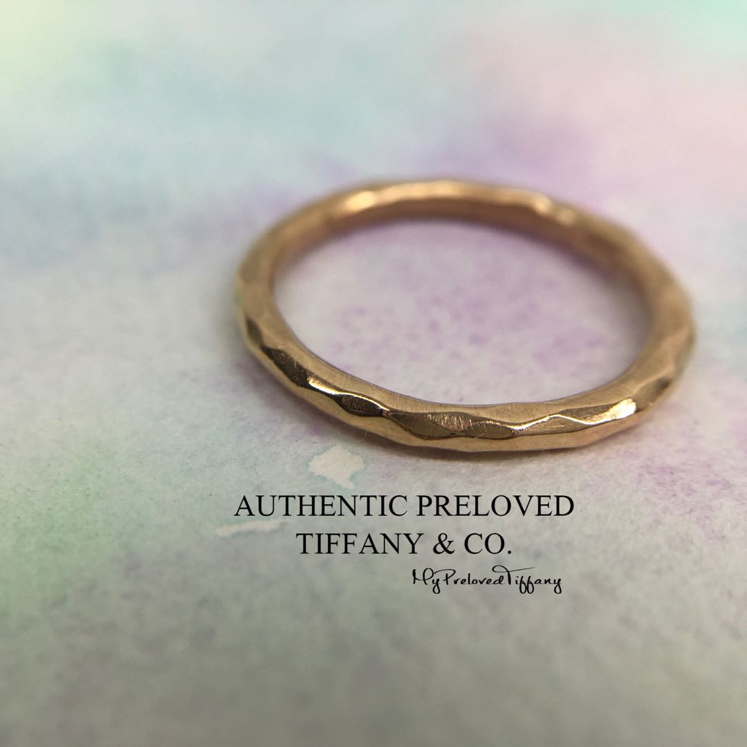 e2d579f46 Authentic Tiffany & Co Paloma Picasso Rose Gold Hammered Band Ring ...