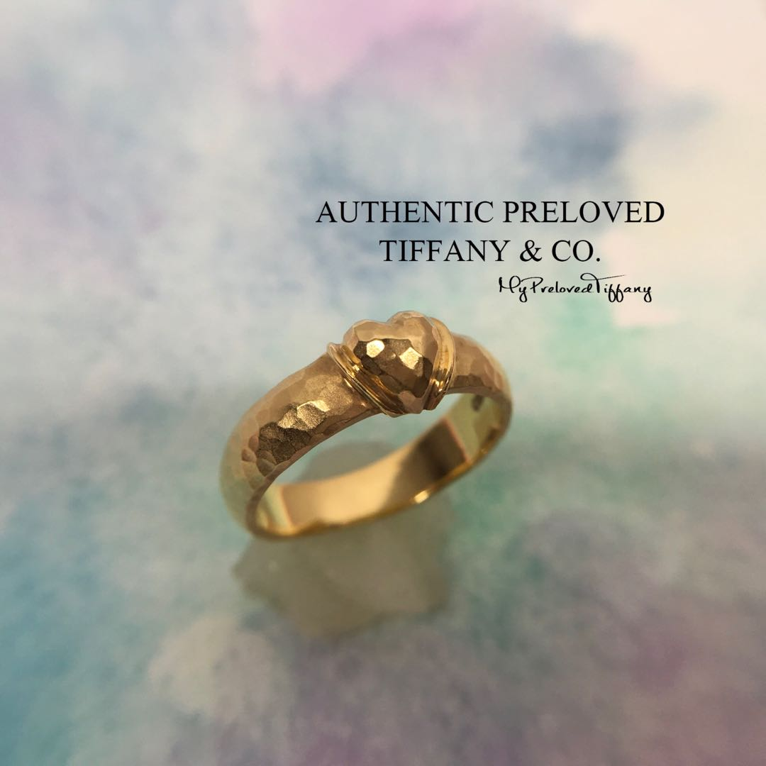 3aadbc957 Tiffany & Co Paloma Picasso Heart Hammered Yellow Gold Band Ring 18k ...