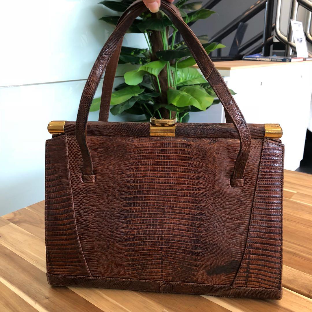 17ea139d011a Vintage 1960s exotic skin lizard leather Kelly bag
