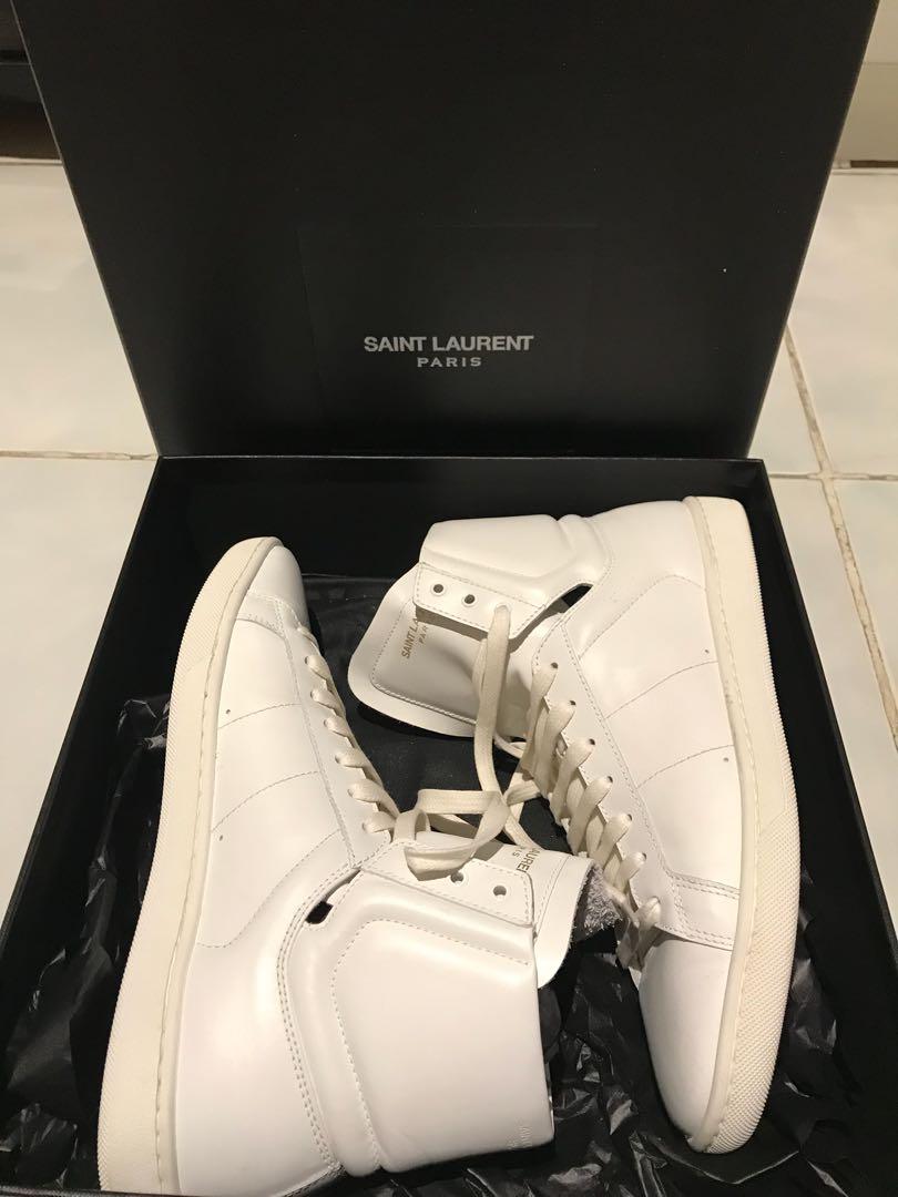 Yves Saint Laurent Paris YSL White Sneakers High Top Fesyen Wanita Sepatu Di Carousell