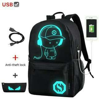 Glow in the Dark 2 in 1 Bagpack w/Usb Cable