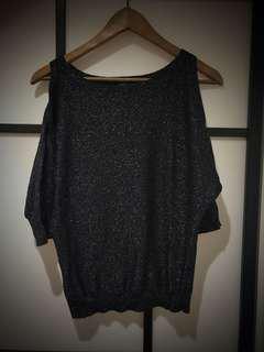 Multi colour sparkly cold shoulder blouse