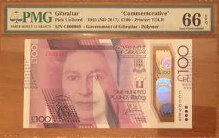 Gibraltar 100£ Low number C000989
