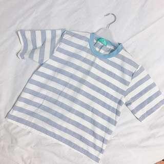 🚚 藍色條紋日系短袖#女裝半價拉