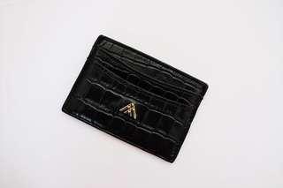 AM Black Croc Wallet Card Holder