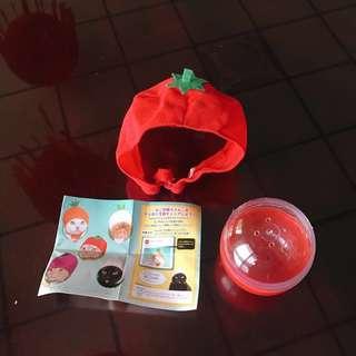 🚚 【二手】日本扭蛋 水果帽頭巾 貓咪小狗頭巾