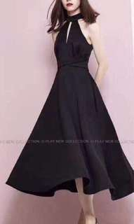 NEW Halter Neck Flare Dress - hitam