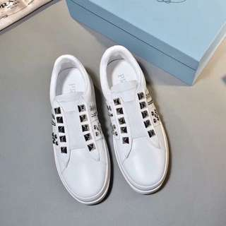Prada White Studded Shoes