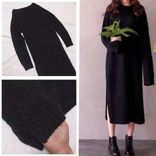 🚚 針織長版灰黑色洋裝#女裝半價拉