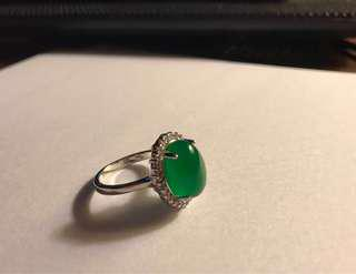 Beautiful ring with jade and Swarovski crystal