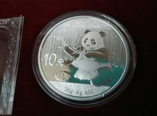 中國熊猫普制銀幣2017