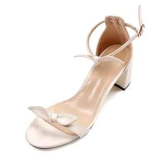 🚚 極新實拍!歐美米色蝴蝶結一字涼鞋 婚禮 派對